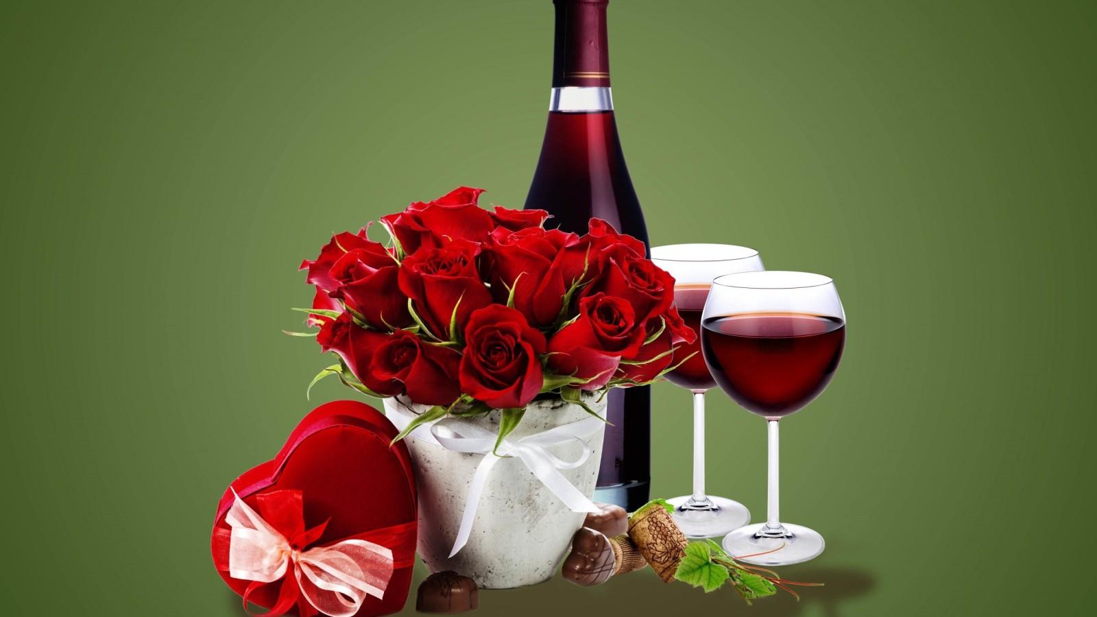 rose wine glasses and bottles